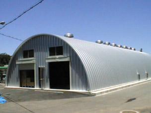 機械室上屋 乾燥機室上家増築 ドーム型 施設 建築 設計 倉庫 畜舎 工場 宝和工務 鋼板折板セル構造 広島県世羅郡世羅町