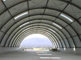 梅林公園内刈草堆肥舎 ドーム型 施設 建築 設計 倉庫 畜舎 工場 宝和工務