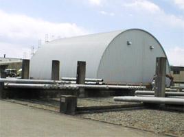 資材センター製品倉庫 ドーム型 施設 建築 設計 倉庫 畜舎 工場 宝和工務